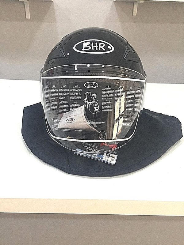 Vespa motorcycle helmet approved black glossy with long visor size xl